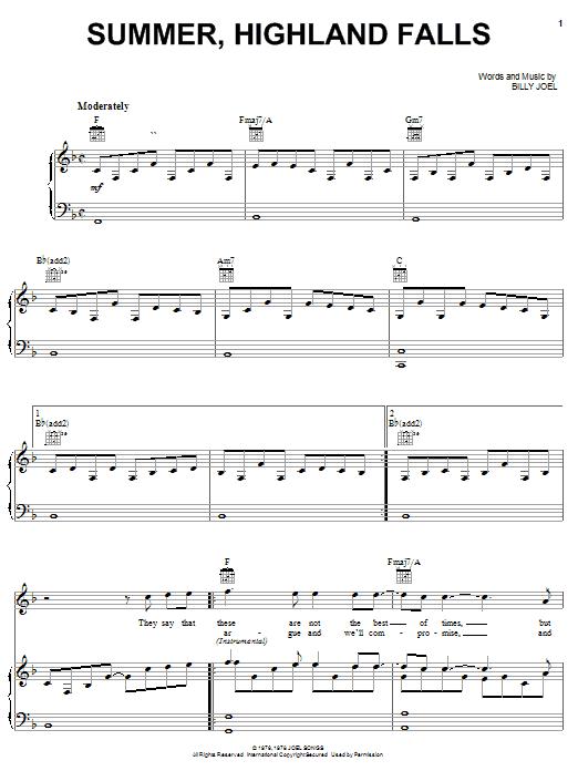 Download Billy Joel Summer, Highland Falls sheet music and printable PDF score & Rock music notes