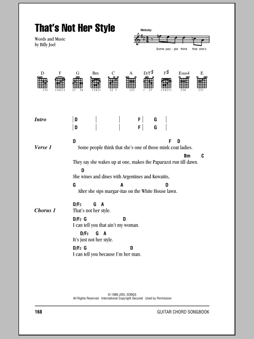 Download Billy Joel That's Not Her Style sheet music and printable PDF score & Rock music notes