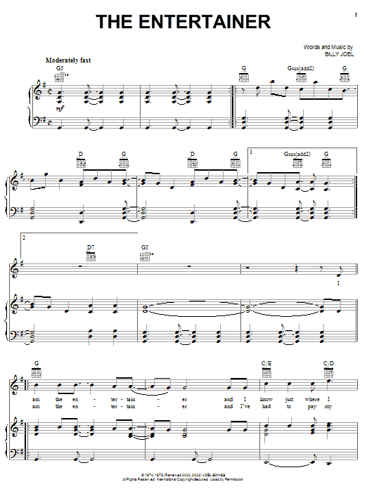 Download Billy Joel The Entertainer sheet music and printable PDF score & Rock music notes