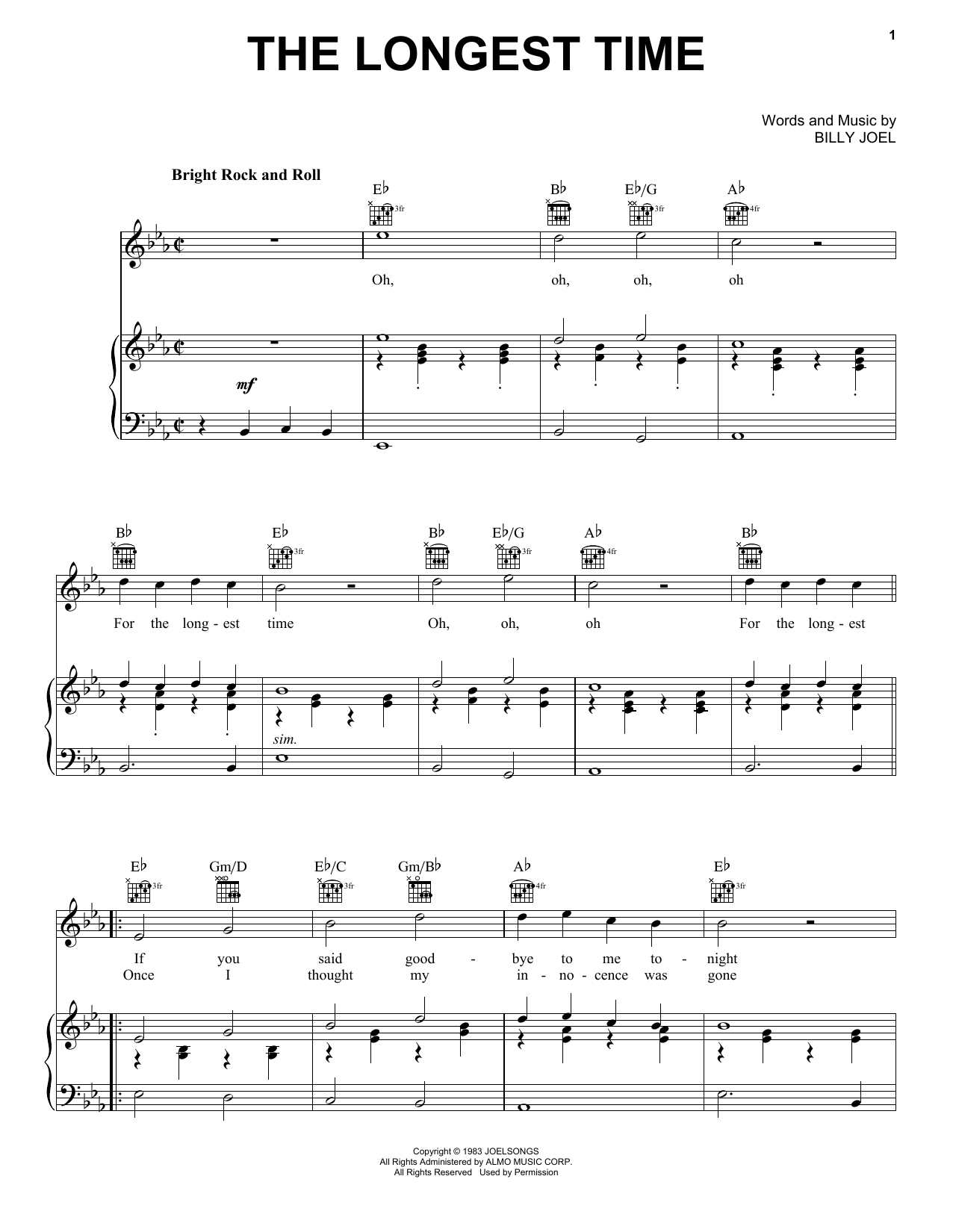 Download Billy Joel The Longest Time sheet music and printable PDF score & Rock music notes