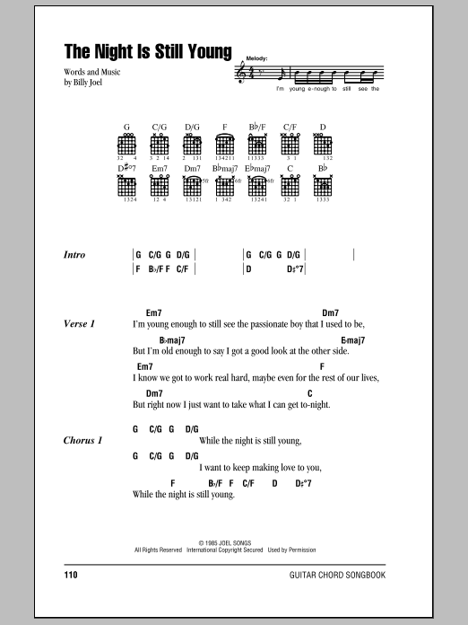 Download Billy Joel The Night Is Still Young sheet music and printable PDF score & Rock music notes
