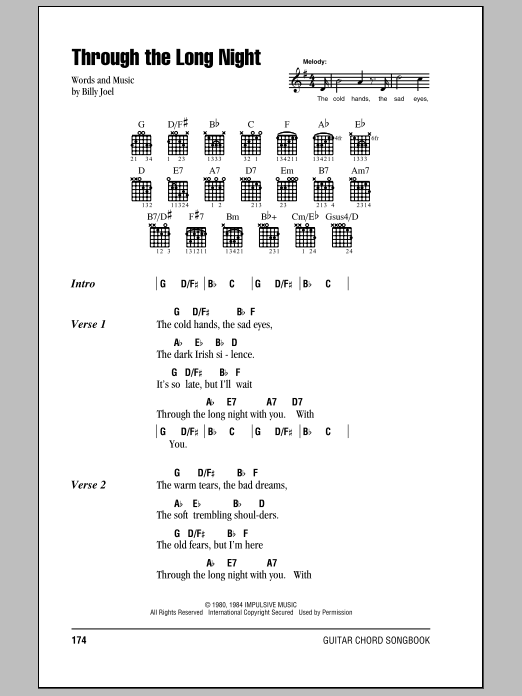 Download Billy Joel Through The Long Night sheet music and printable PDF score & Rock music notes