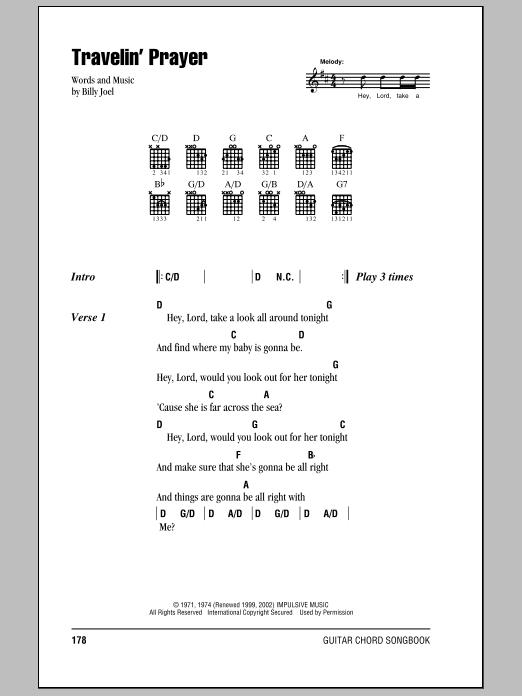 Download Billy Joel Travelin' Prayer sheet music and printable PDF score & Rock music notes