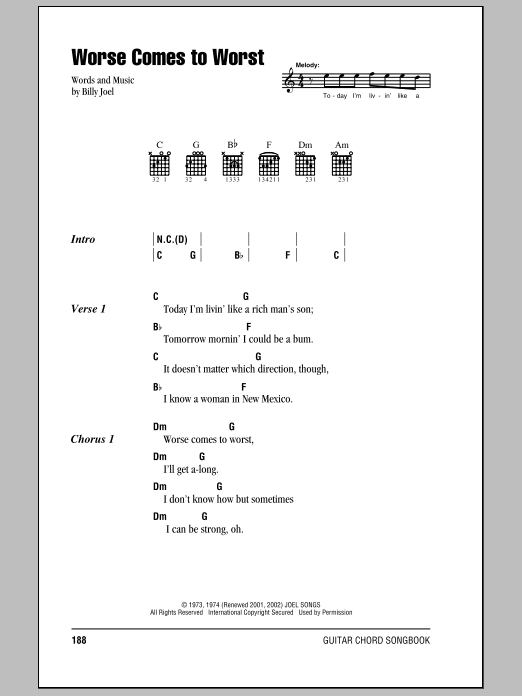 Download Billy Joel Worse Comes To Worst sheet music and printable PDF score & Rock music notes