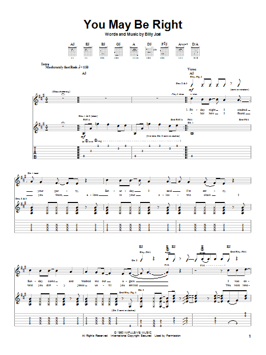 Download Billy Joel You May Be Right sheet music and printable PDF score & Rock music notes