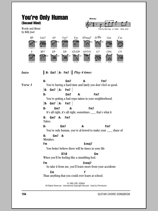 Download Billy Joel You're Only Human (Second Wind) sheet music and printable PDF score & Rock music notes