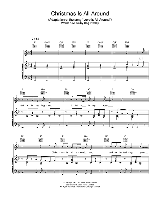Christmas Is All Around.Billy Mack Christmas Is All Around Sheet Music Notes Chords Download Printable Piano Vocal Guitar Sku 26074