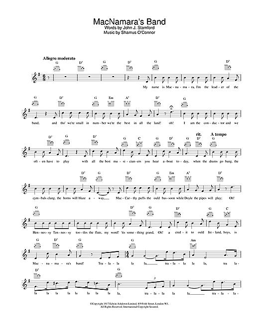 Download Bing Crosby MacNamara's Band sheet music and printable PDF score & Easy Listening music notes