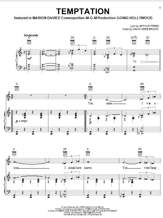 Download Bing Crosby Temptation sheet music and printable PDF score & Jazz music notes