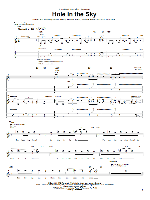 Download Black Sabbath Hole In The Sky sheet music and printable PDF score & Rock music notes