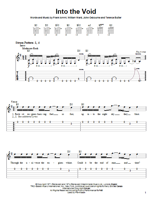 Download Black Sabbath Into The Void sheet music and printable PDF score & Rock music notes