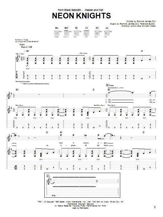 Download Black Sabbath Neon Knights sheet music and printable PDF score & Pop music notes