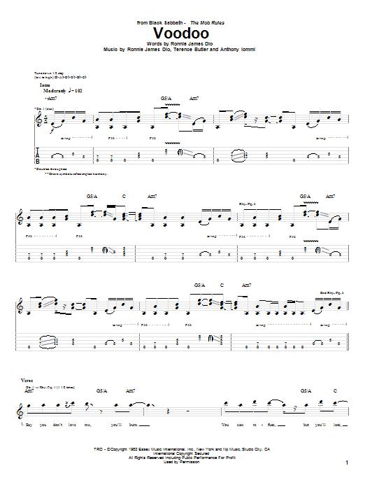 Download Black Sabbath Voodoo sheet music and printable PDF score & Rock music notes