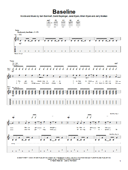 Download Bleach Baseline sheet music and printable PDF score & Rock music notes