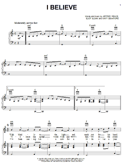 Download Blessid Union Of Souls I Believe sheet music and printable PDF score & R & B music notes