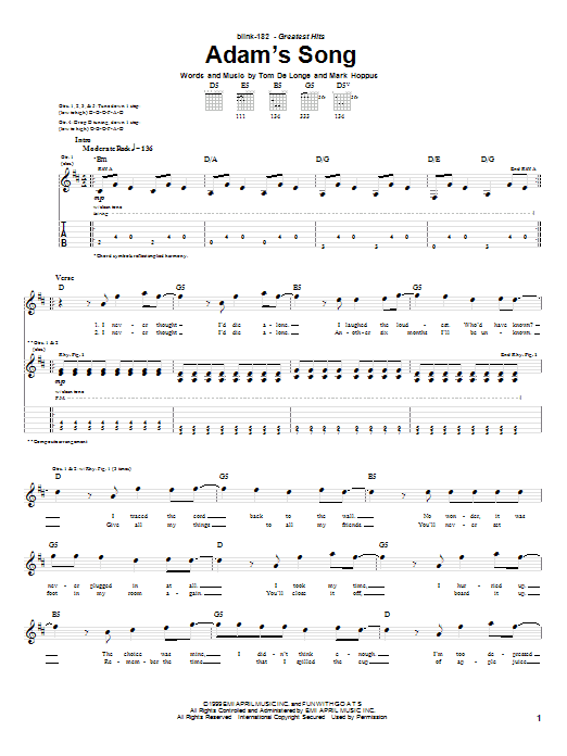 Download Blink-182 Adam's Song sheet music and printable PDF score & Pop music notes