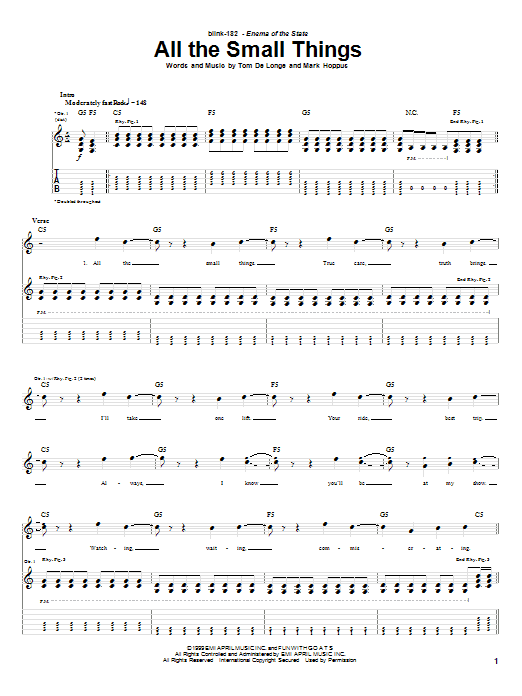 Download Blink-182 All The Small Things sheet music and printable PDF score & Pop music notes
