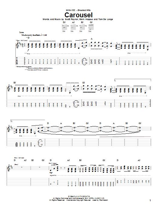 Download Blink-182 Carousel sheet music and printable PDF score & Rock music notes