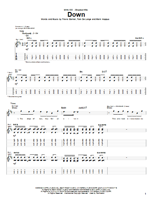 Download Blink-182 Down sheet music and printable PDF score & Pop music notes
