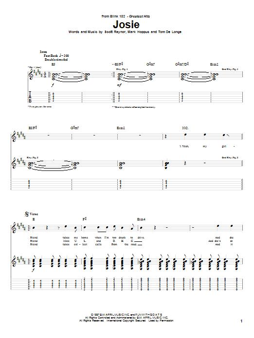 Download Blink-182 Josie sheet music and printable PDF score & Pop music notes
