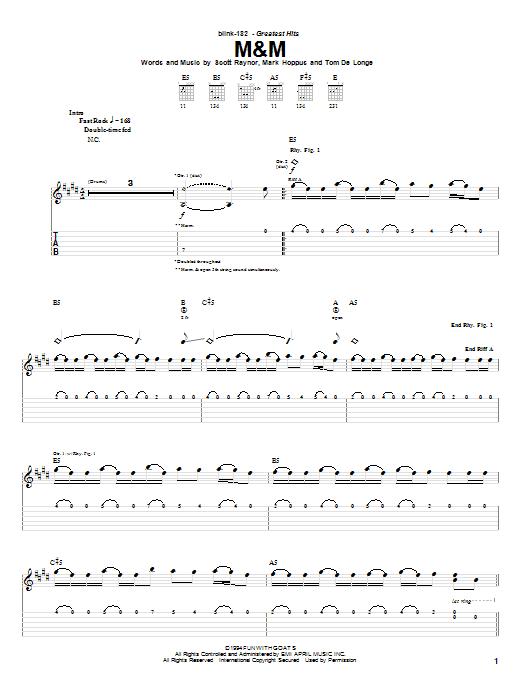 Download Blink-182 M&M sheet music and printable PDF score & Rock music notes