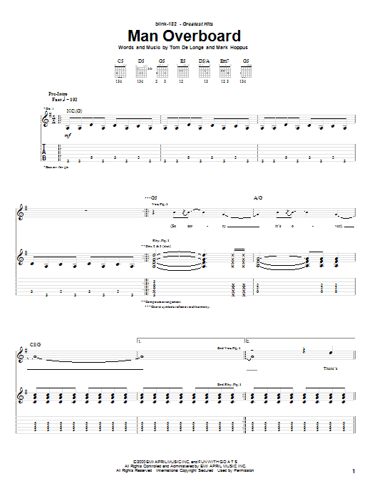 Download Blink-182 Man Overboard sheet music and printable PDF score & Pop music notes