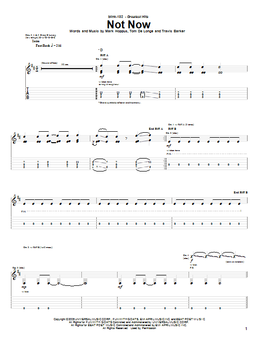 Download Blink-182 Not Now sheet music and printable PDF score & Pop music notes
