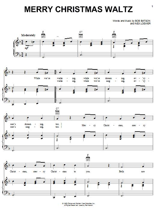 Download Bob Batson Merry Christmas Waltz sheet music and printable PDF score & Christmas music notes