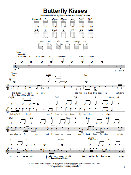 Download Bob Carlisle Butterfly Kisses sheet music and printable PDF score & Religious music notes