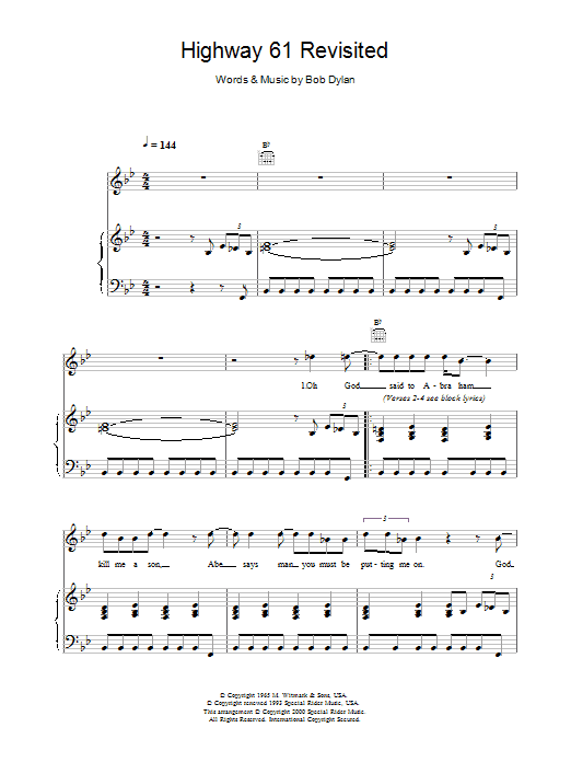 Download Bob Dylan Highway 61 Revisited sheet music and printable PDF score & Rock music notes