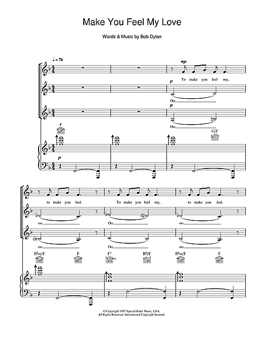 Download Bob Dylan Make You Feel My Love (arr. Jeremy Birchall) sheet music and printable PDF score & Pop music notes