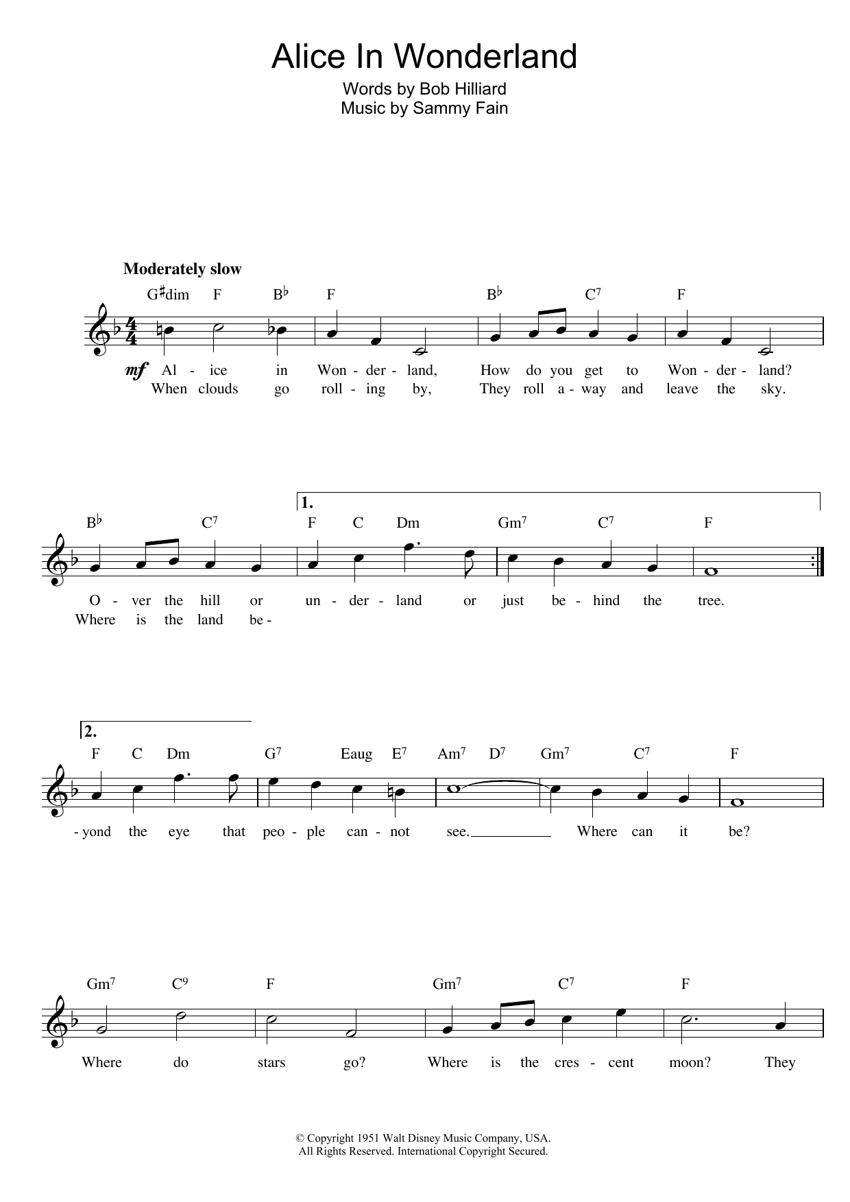 Download Sammy Fain Alice In Wonderland sheet music and printable PDF score & Film and TV music notes