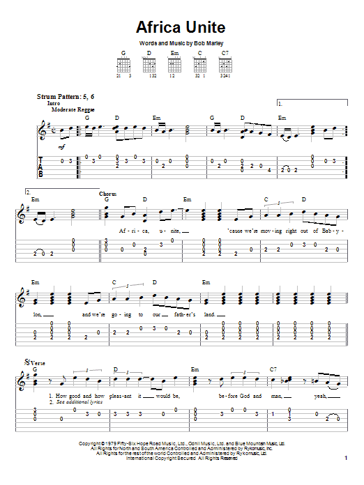 Download Bob Marley Africa Unite sheet music and printable PDF score & Pop music notes