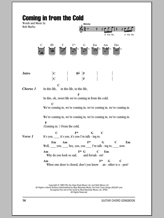 Download Bob Marley Coming In From The Cold sheet music and printable PDF score & Pop music notes