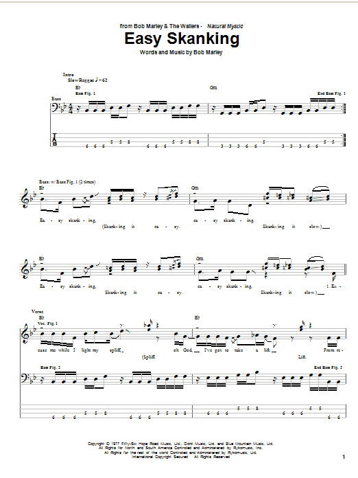 Download Bob Marley Easy Skanking sheet music and printable PDF score & Pop music notes