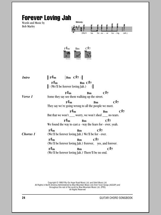 Download Bob Marley Forever Loving Jah sheet music and printable PDF score & Pop music notes