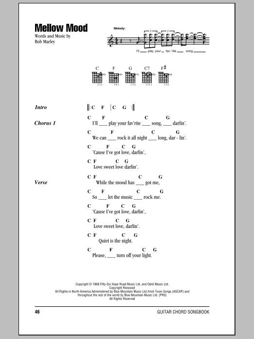 Download Bob Marley Mellow Mood sheet music and printable PDF score & Pop music notes