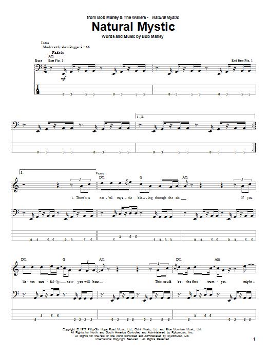 Download Bob Marley Natural Mystic sheet music and printable PDF score & Pop music notes