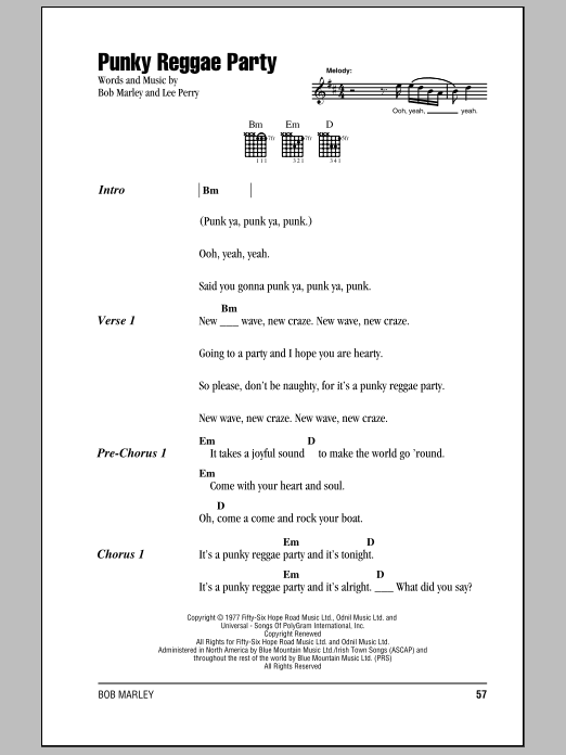 Download Bob Marley Punky Reggae Party sheet music and printable PDF score & Pop music notes