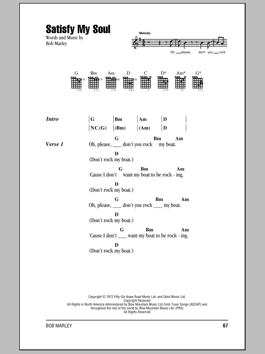 Download Bob Marley Satisfy My Soul sheet music and printable PDF score & Pop music notes