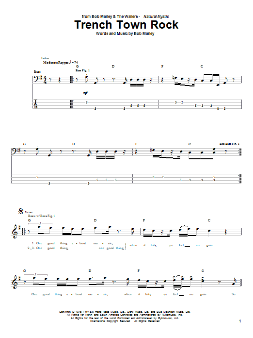 Download Bob Marley Trench Town Rock sheet music and printable PDF score & Pop music notes