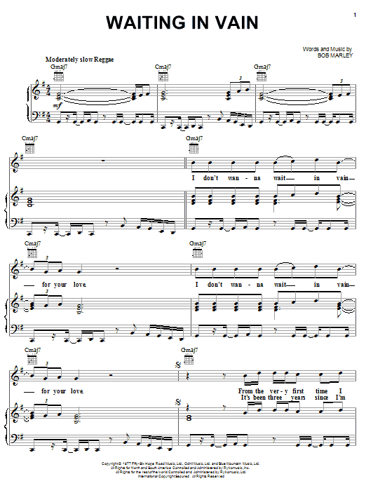 Download Bob Marley Waiting In Vain sheet music and printable PDF score & Pop music notes