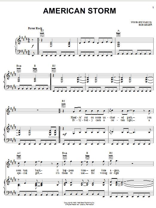 Download Bob Seger American Storm sheet music and printable PDF score & Rock music notes
