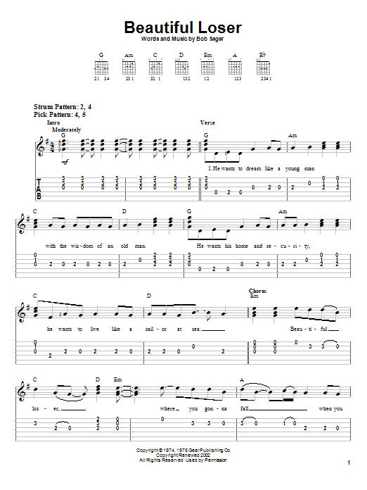 Download Bob Seger Beautiful Loser sheet music and printable PDF score & Rock music notes
