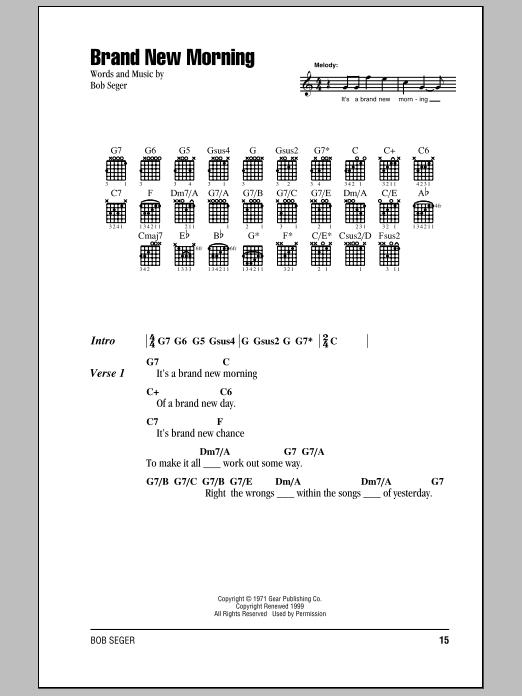 Download Bob Seger Brand New Morning sheet music and printable PDF score & Rock music notes