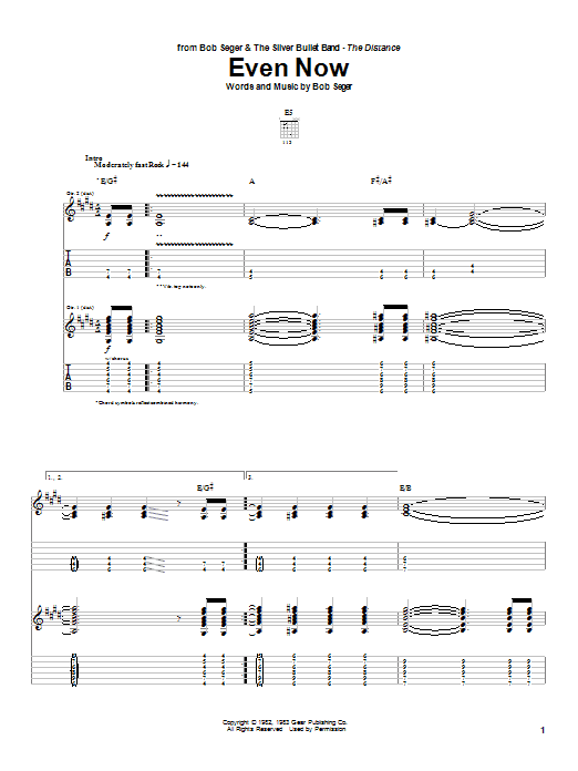 Download Bob Seger Even Now sheet music and printable PDF score & Rock music notes