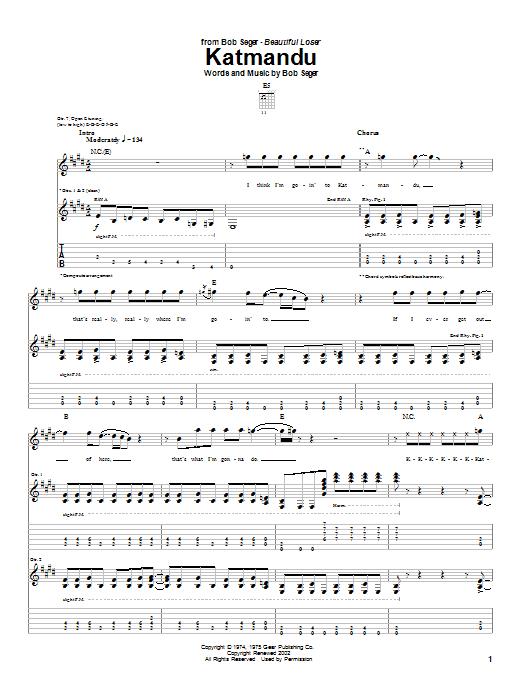 Download Bob Seger Katmandu sheet music and printable PDF score & Rock music notes