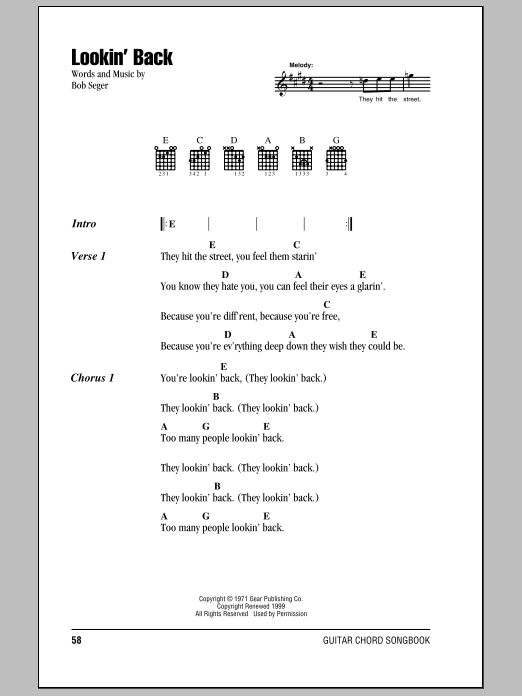 Download Bob Seger Lookin' Back sheet music and printable PDF score & Rock music notes