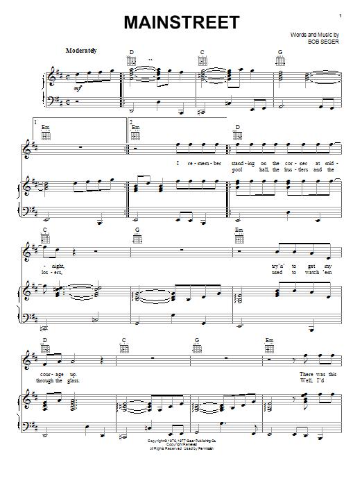 Download Bob Seger Mainstreet sheet music and printable PDF score & Rock music notes