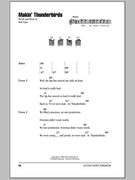 Download Bob Seger Makin' Thunderbirds sheet music and printable PDF score & Rock music notes